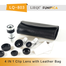 New Arrival 4 IN 1 Super wide angle & Macro & Fish eye & Telescope Lens with two universal clip Leather bag