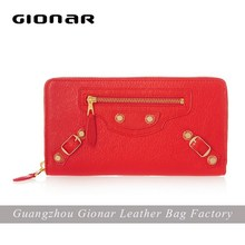 Fashion clutch bag lady leather wallets , red leather purse leather money bag