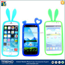flexible round design cute rabbit ear universal silicon bumper for iphone 6
