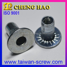 Round Body Ribbed Serration Under Head Grooved Insert Nut