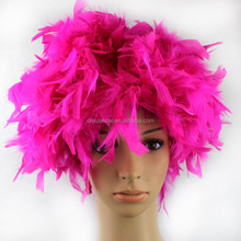 Wholesale cheap synthetic Rose red feather wigs