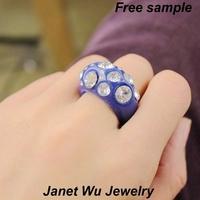 WEDDING FASHION Rose Garden Flower Rings Gold Plating Metal Fashion Cheap Shiny Blue Resin Ring