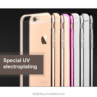 Ultra Thin metal Plating clear TPU Gel Skin Case Cover & Glass Protector for Apple iPhone 6/6s plus 5.5inch