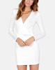 CHEFON French actress elegant fitted long sleeve white wrap dress