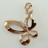 Butterfly 18k solid yellow pure gold pendant with shiny polish