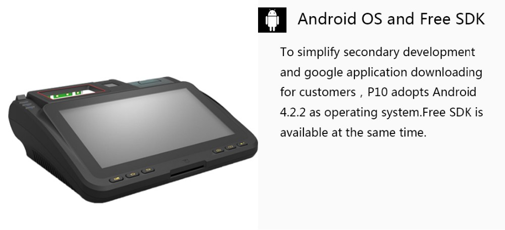 EKEMP 10 Inch Android POS With Card Skimmer ,RFID Smart Card Reader and Writer