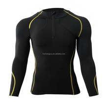 Men's Peach Thicken Compression Base Layer Long Sleeve Shirts Skin Tight Black