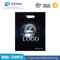 Black plastic bag with logo print, make up plastic bag 40x50 cm