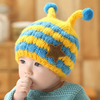 cute bee shaped baby winter knit hat, earflaps knitted hat