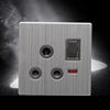 15A 3 round pin switched socket with brush stainless