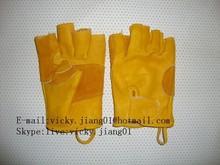 half-hand type cow leather glove