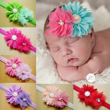 ribbon flower for headband cute hair accessory for kids elastic lace headband