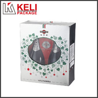 PVC window paper made foldable cardboard wine box for 2 bottles
