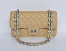 hot selling new style beige genuine leather cheap shoulder bags with silver and golden shoulder strap chain