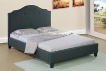 Modern Italian dormitorio muebles de tela sencilla cama de diseño con clavos de cobre de la cabecera