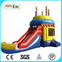 Birthday cake Inflatable castle with slider ,Inflatable combo,bouncy for kids