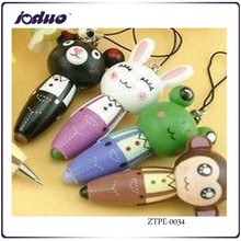 2015 Wooden Cartoon Animals With Ball-point Pen Multifunction Pen Kawaii Bag Pendant Mobile Phone Chain