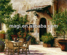 Antique Landscape Romantic Oil Painting