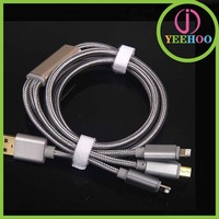 3.0 fast charging universal multi usb charger cable 3 in 1 with 2 plugs for iPhone and 1 Micro usb for Samsung