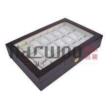 24pcs wooden watch display case with white lining with glass