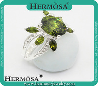 Hermosa Jewelry Wholesale Price Facet Olive Green Topaz Customed Stone Ring