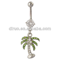 14G Gem Palm Tree Dangle Navel Belly Button Ring Body Piercing Jewelry C2326