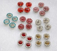 Fancy custom Crystal Rhinestone sew on flower buttons Colorful bridal appliques trims( crystal in silver) sewing accessories
