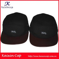maroon leather brim black woven embroid patch cotton fabric custom logo woven label logo cow leather patch 5 panels hat