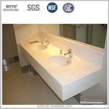 pure white modified acrylic solid surface vanity top