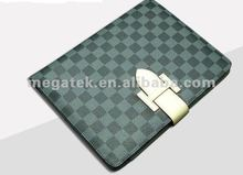 Square check pattern buckle folio leather case for ipad 2 3 4 air mini,for ipad case card holder air mini 2 3 4