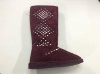 Hangzhou zhejiang Women button triplet snow boots super warm winter high snow boots factory tall snow boots