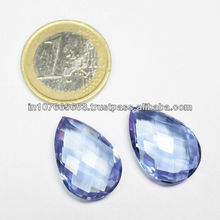 Single Piece - 22x15mm - Color Change Quartz Pear Long Drops Briolette - Drilling Available - SF121
