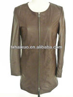 dying color round collar fashion women long sheep leather coat 2014