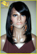 2014New hair styles adjustable stap high quality human hair lace front wigs with bangs