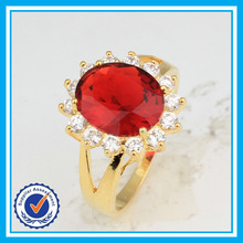 Real gold plated handmade ruby ring fashion synthetic diamond rings price