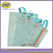 Custom Set of 4pcs Portable Mesh Tote Bag Zipper Pouch Packable Toiletry organizer Storage Bag