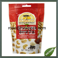 Mylar plastic food sachet for cashew nut packaging with hang hole and zip top