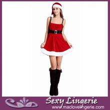 ml8007 increíble diseño caliente sexy en precioso sombrero rojo vestido de navidad