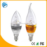 Super brightness 275-300LM E14 smd golden/silver aluminum+PC 3w led lights candles with 3 year warranty