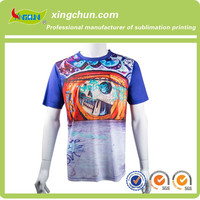 Round neck 100% Polyester wholesale customize scrawl dye sublimation printing Tee shirts