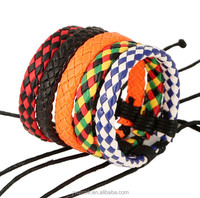 Trendy High Quality Delicate Unisex Color Black Pu Leather Interlaced Wristband Bracelet 5COLORS