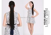 """1шт 24 """"/ 60 см 120-130 г обернуть вокруг клипа в хвост расширение для женщины прямой хвостик хорошего качества p001"""