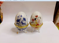 porcelain jeweled trinket box /ring box/ceramic easter egg box
