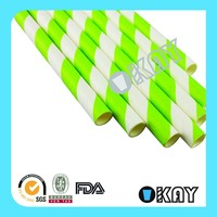 Wholesale Green Striped Paper Straws for Birthday Party