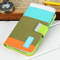 PU leather wallet phone case for Samsung Galaxy S5 I9600 with bill site and stand holder for ladies preference