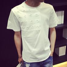 Summer new T-shirt South Korea Shopping hole five-pointed star short sleeve t-shirt men wholesale
