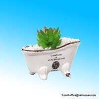 White Porcelain Petite Bathtub Vintage Flower Pot Planter / Soap Dish
