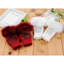 Women Winter Faux Fur Fingerless Glove Knitted Acrylic Mittens Gloves