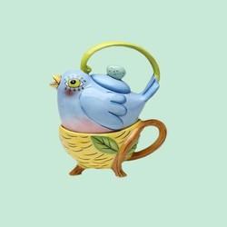 wholesale handmade flight blue of fancy bird ceramic tea cup