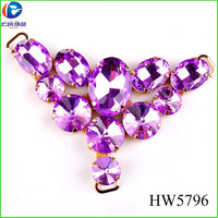 HW5796 purple glass decorative ladies sandals shoe accessories